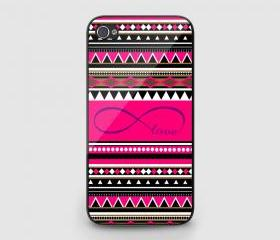 Designed for iPhone 4 4S 5 5S 5C iPod Touch 4 5 Case Cover Black/ White, Infinity Love Aztec Design